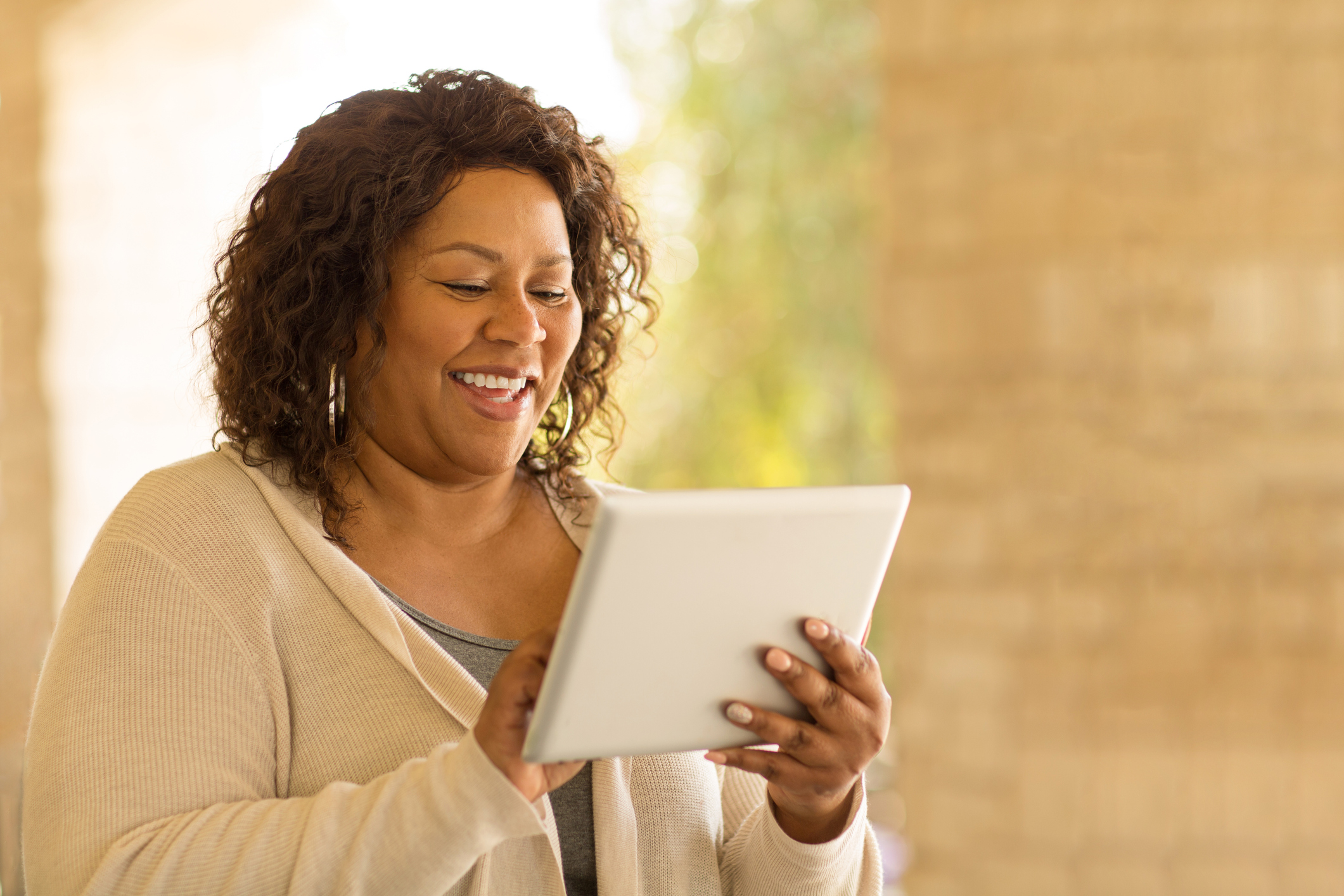 Mature woman working on a tablet